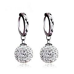Mulheres Para Meninas Brincos Curtos brincos bola Brinco Básico Clássico bijuterias Prata de Lei Zircônia Cubica Imitações de Diamante