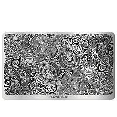 1pcs nail plate - 10.5cmX16cm each piece - Virág - Fém - Ujj / Toe - Más dekorációk