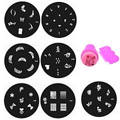 Flor - Dedo / Dedo del Pie - Otras Decoraciones - Metal - 10pcs nail plates+ 1set nail stamper and scraper - 5.5cm for dia - (cm)