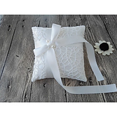 Ivory 1 Ribbons Bow Faux Pearl Satin Lace
