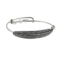Antique Silver Plated Zinc Alloy Metal Feather Adjustable Bangle Fine Jewelry Europe Vintage Bracelets & Bangles For Women
