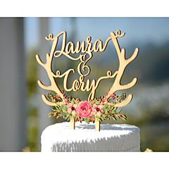 Figurky na svatební dort Přizpůsobeno Klasický pár Lepenkový papír Svatba Výročí Párty pro nevěstu ŽlutáZahradní motiv Květinový motiv