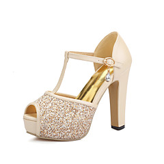 Women's Heels Spring Summer Fall Glitter Wedding Casual Party & Evening Chunky Heel Sequin White Blushing Pink Almond