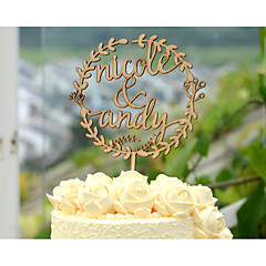 Wood Cake Topper Custom with Couple's Names Wedding Cake Topper in Natural Wood Color 6 Inches Wide