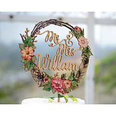 Cake Topper Personalized With Last Name Wood Wedding Cake Topper Printed with Floral Wreath