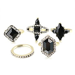 Ring Acrylic Party Daily Casual Jewelry Alloy Women Ring 1set Silver Japanese Korean Fashion Personality Beautiful 5pcs