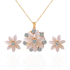 Jewelry 1 Necklace 1 Pair of Earrings Opal Rhinestone Wedding Party Daily Alloy Rhinestone Opal 1set Women Candy Pink Wedding Gifts