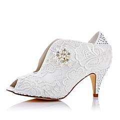 Heels Spring Summer Fall Comfort Tulle Wedding Party & Evening Dress Cone Heel Ivory