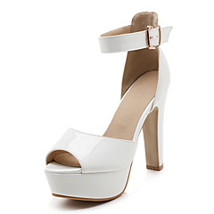 Women's Sandals Spring Summer Fall Club Shoes PU Patent Leather Wedding Office & Career Dress Chunky Heel Buckle Black Red White Almond
