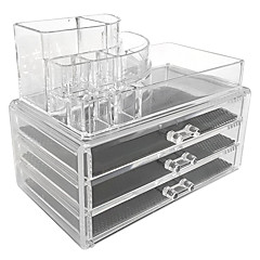 Makeup Storage Acrylic Transparent 24*15*22 Cosmetic organizer Jewelry Cosmetic Storage Display Boxes Two Pieces Set(3 Drawer+ Lipstick Brush Holder)