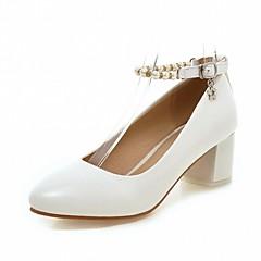 נשים-עקבים-דמוי עור PU-נוחות חדשני-לבן ורוד שקד-חתונה משרד ועבודה שמלה יומיומי מסיבה וערב-עקב עבה חסום את העקב