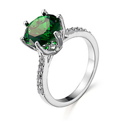 指輪 エメラルド ジルコン キュービックジルコニア スチール ホワイト グリーン ブルー ジュエリー 日常 1個
