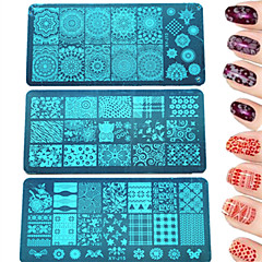 1pcs DIY Fashion Stamping Plate Colorful&Beautiful Image Manicure Beauty Stencils Nail Stainless Steel Stamping Plate Polish Nail Tool XY-J11-16