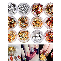 12pcs смешанные цвета фольги украшения для ногтей украшения золотого серебра красочная фольга