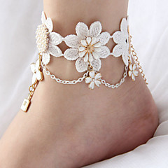 Women's Anklet/Bracelet Lace Fashion Bridal Flower Crown Alphabet Shape Hamsa Hand White Women's JewelryWedding Party Halloween Daily