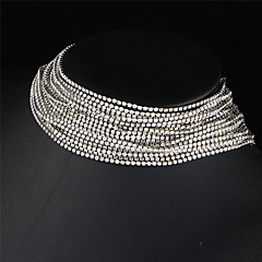 2017 Sexy Multiple Layers Full Rhinestone Crystal Choker Necklace For Women Punk Bijoux Necklaces Wedding Jewelry Gift