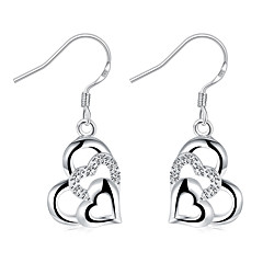 Exquisite Silver Plated Clear Crystal Heart to Heart Drop Earrings for Wedding Party  Jewelry Accessiories