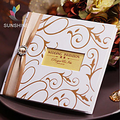Classic Hard Card White Wedding and Birthday Invitations Cards With Ribobn And Rhinestone Buckle HKP2013