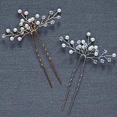 真珠 クリスタル かぶと-結婚式 パーティー ヘアピン ヘアメイクツール 2個
