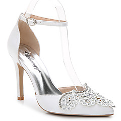 Women's Sandals Summer Fall D'Orsay & Two-Piece Silk Wedding Office & Career Party & Evening Dress Casual Stiletto HeelRhinestone