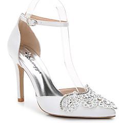 Sandály-Hedvábí-D´Orsay-Dámské-Bílá-Svatba Kancelář Party Šaty Běžné-Vysoký