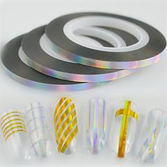 30pcs / box 3mm 20m Art und Weiselaser silberne funkelnde Regenbogenfolie, die Bandlinie Nagelkunst glitterfolie, die