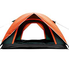 3-4人 テント シングル 家族用テント 1つのルーム キャンプテント 1500-2000 mm ファイバーグラス 防水 通気性 抗虫-キャンピング 旅行 屋外-グリーン