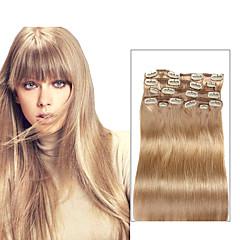 9pcs / set deluxe 120g # 18 clip blondă bej în extensii de păr 16inch 20inch 100% păr uman drept