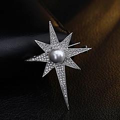 여성 그외 브로치 모조 진주 라인석 유니크 디자인 개인 Euramerican 도금 골드 합금 Geometric Shape 보석류 용 일상 캐쥬얼