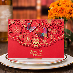 Top Fold Wedding Invitations Invitation Cards-50 Piece/Set Formal Style Vintage Style Flora Style Butterly Style Floral StyleCard paper