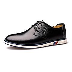 Oxfordské-Kůže-Pohodlné Společenské boty-Pánské-Černá Oranžová-Svatba Kancelář Běžné-Plochá podrážka