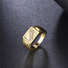 Anel Anel de noivado Zircônia cúbica Elegant Moda Clássico Zircão Zircônia Cubica Chapeado Dourado Forma Redonda Jóias ParaCasamento