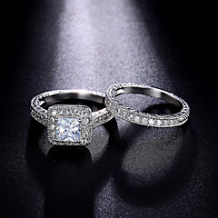 Ring Forlovelsesring Kubisk Zirkonium Mote Luksus Smykker Klassisk Kubisk Zirkonium Rund Form Smykker Til Bryllup Fest Daglig 1 sett