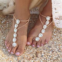 女性 アンクレット/ブレスレット 人造真珠 ラインストーン 合金 ファッション ドロップ ジュエリー のために 日常 カジュアル 1枚