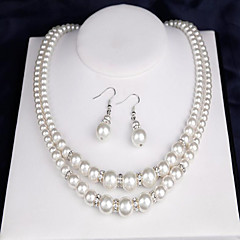 Women's Bridal Jewelry Sets Imitation Pearl Double-layer Costume Jewelry Pearl Round 1 Necklace 1 Pair of Earrings 1 Bracelet For Wedding