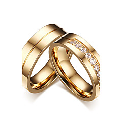 Casal Anéis de Casal Zircônia cúbica Estilo simples Clássico Elegant Zircônia Cubica Aço Titânio Formato Circular Jóias ParaCasamento