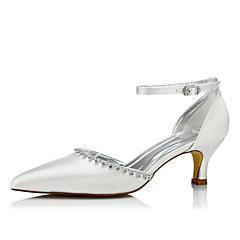 Feminino Sapatos De Casamento Conforto Seda Primavera Outono Casamento Social Festas & Noite Conforto Corrente Cadarço Salto Baixo Ivory5