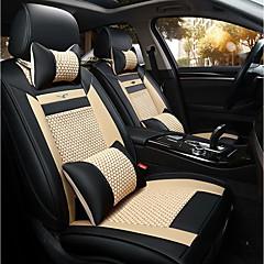 Der neue Autositz Kissen Ledersitzbezug vier Jahreszeiten allgemeines Eis rund fünf Sitze bis 2 Sitz Kopfstütze Rückenlehne schwarz beige