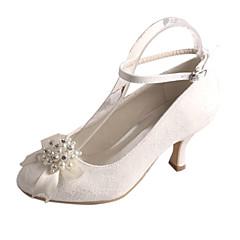 Dame bryllup sko Basispumps Strekksateng Vår Høst Bryllup Fest/aften Krystall Perle Stiletthæl Hvit Krystall 5 - 7 cm