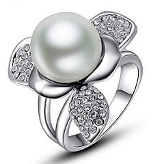 女性用 指輪石座 バンドリング 指輪 人造真珠 ラインストーンベーシック ユニーク アニマルデザイン 真珠 友情 耐久 Elegant ファッション パンクスタイル 愛らしいです あり ヒップホップ マルチの方法が着用します かわいいスタイル 欧米の DIY ゴシック