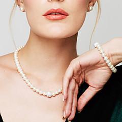 Damskie Zestawy biżuterii Bransoletki i łańcuszki na rękę Pasemka Naszyjniki Perlový náhrdelník Circle Shape BiżuteriaPerłowy Imitacja