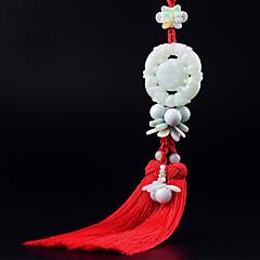 Diy pendentes automotivos tropas valentes feitos à mão nó chinês borla moda riqueza lucky carro pendente&Ornamentos esmeralda