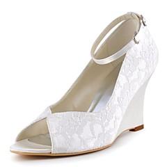 """נשים נעלי חתונה בלרינה בייסיק סאטן נמתח אביב קיץ חתונה מסיבה וערב אבזם עקב וודג' לבן כחול כהה קריסטל ס""""מ 7.6 - ס""""מ 9.50"""