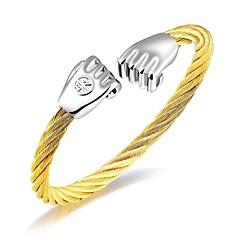 Herre Armbånd Kvadratisk Zirconium Enkelt design Mode Yndig luksus smykker Frynsetip(s) Kvadratisk Zirconium Titanium Stål Rødguldbelagt