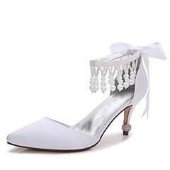 Dame Sko Sateng Vår Sommer Basispumps Ankelrem Komfort D' Orsay og todelt bryllup sko Lav hæl Liten hæl Stiletthæl Konisk hæl Spisstå