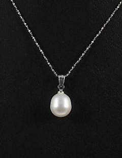 14k vitt guld vit 10,5-11mm aa sötvattenspärla hänge med halsband