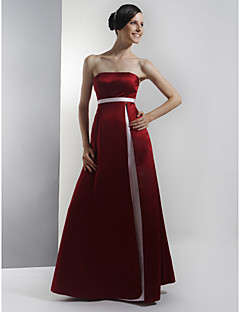 Lanting Bride Floor-length Satin Bridesmaid Dress A-line Strapless Plus Size / Petite with Sash / Ribbon / Split Front