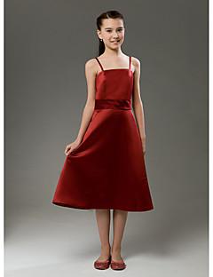 Knee-length Satin Junior Bridesmaid Dress A-line / Princess Spaghetti Straps Natural with Ruffles / Sash / Ribbon