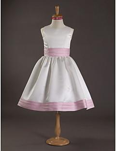 Knee-length Satin Junior Bridesmaid Dress - White A-line / Princess Jewel