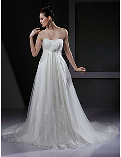 Lanting A-line/Princess Maternity Wedding Dress - Ivory Court Train Sweetheart Tulle